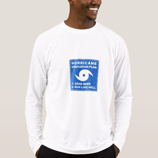 Hurricane Evacuation Plan Parody Men's Sport-Tek Fitted Performance Long Sleeve T-Shirt