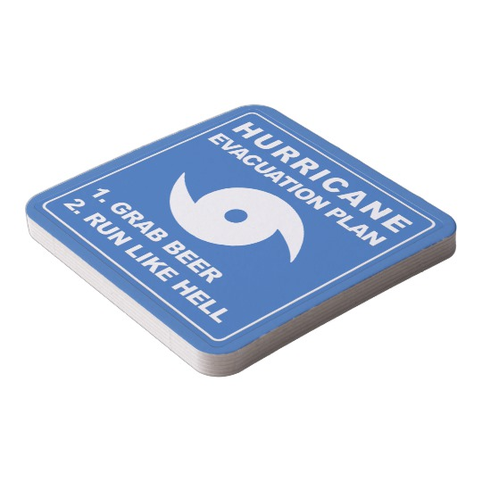 Hurricane Evacuation Plan Parody Square Paper Coaster