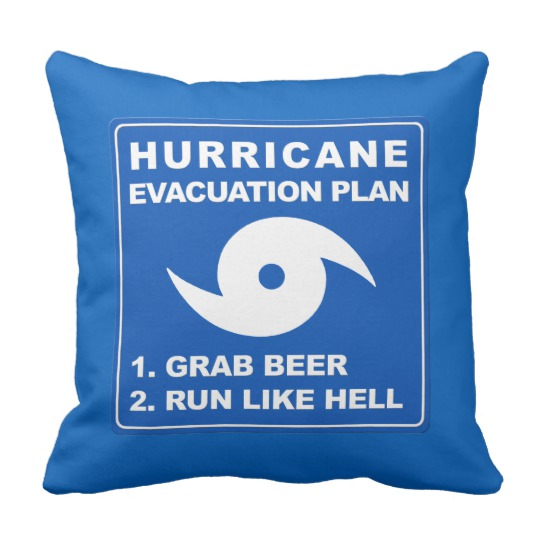 Hurricane Evacuation Plan Parody Throw Pillow 16 x 16