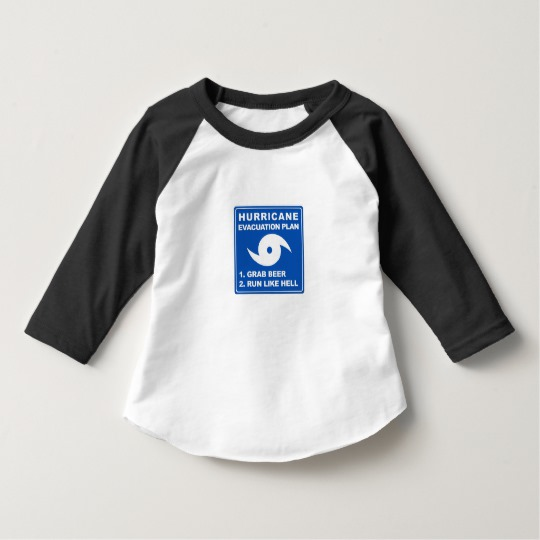 Hurricane Evacuation Plan Parody Toddler American Apparel 3/4 Sleeve Raglan T-Shirt