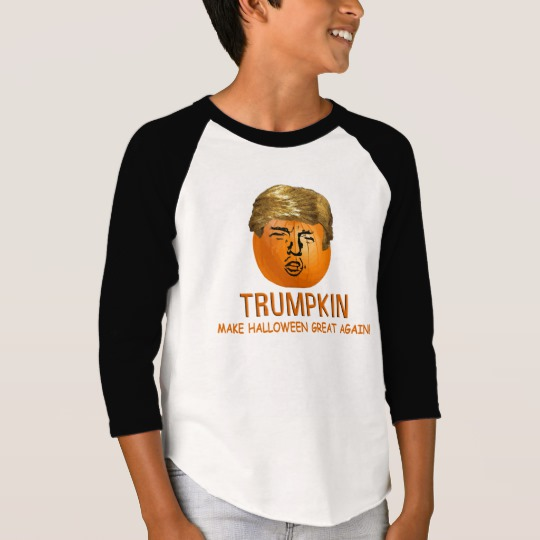 Trumpkin Make Halloween Great Again Boys' American Apparel 3/4 Sleeve Raglan T-Shirt