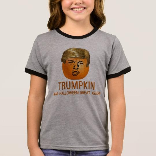 Trumpkin Make Halloween Great Again Girl's Ringer T-Shirt