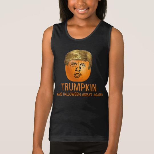 Trumpkin Make Halloween Great Again Girls' Fine Jersey Tank Top