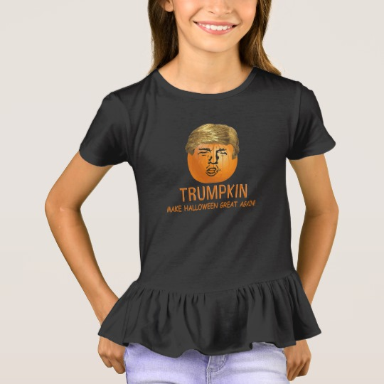 Trumpkin Make Halloween Great Again Girls' Ruffle T-Shirt