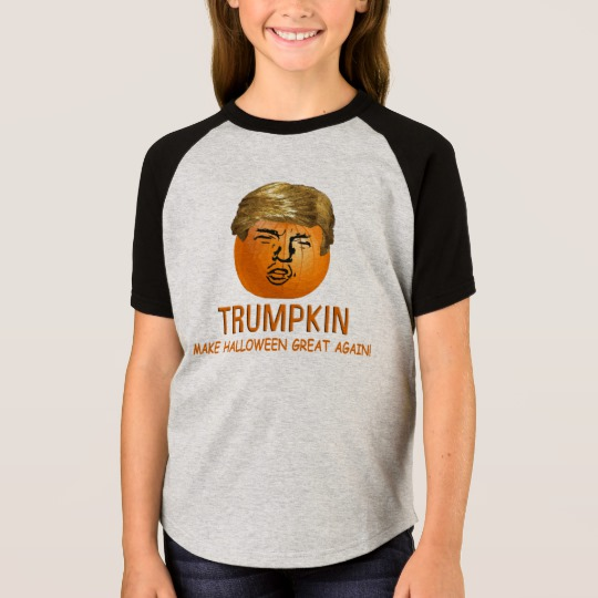 Trumpkin Make Halloween Great Again Girls' Short Sleeve Raglan T-Shirt