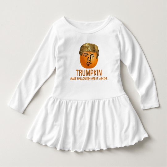Trumpkin Make Halloween Great Again Toddler Ruffle Dress