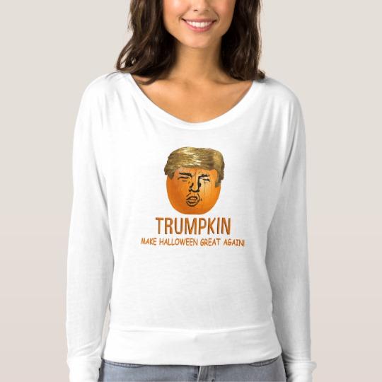 Trumpkin Make Halloween Great Again Women's Bella+Canvas Flowy Off Shoulder Shirt