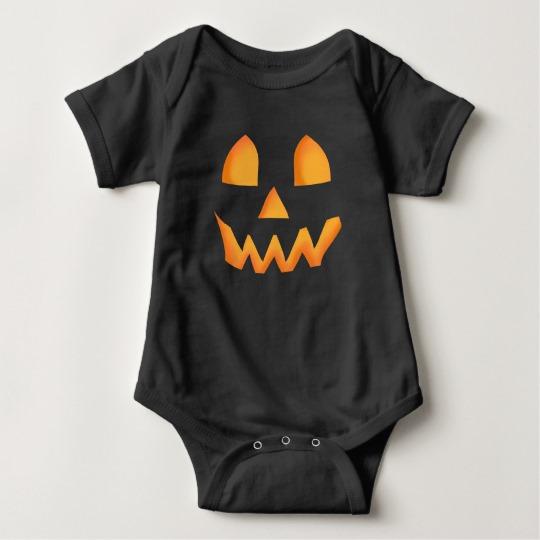 Jack O Lantern Face Baby Jersey Bodysuit