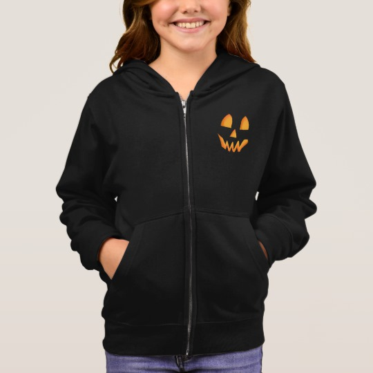 Jack O Lantern Face Girl's Basic Zip Hoodie