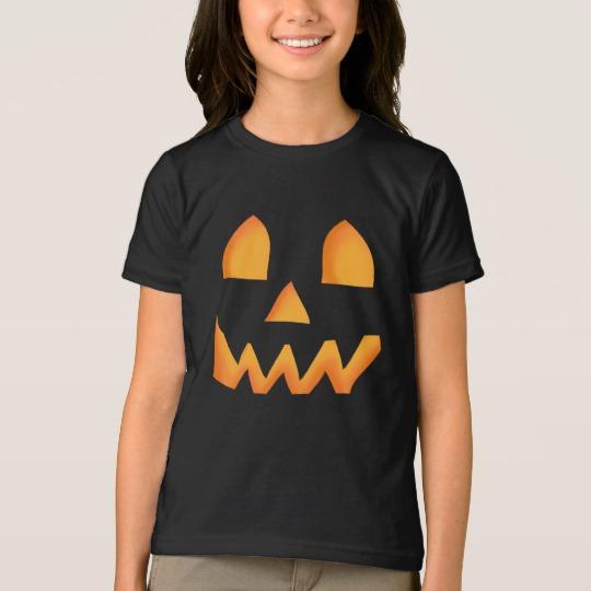Jack O Lantern Face Girls' American Apparel Fine Jersey T-Shirt