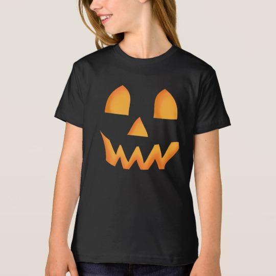 Jack O Lantern Face Girls' American Apparel Organic T-Shirt