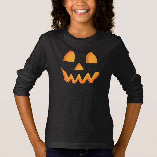 Jack O Lantern Face Girls' Basic Long Sleeve T-Shirt