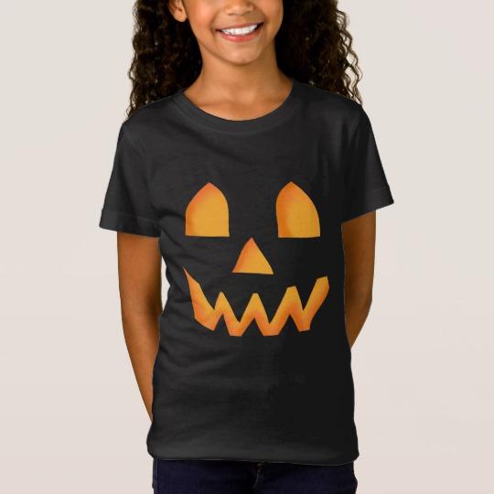 Jack O Lantern Face Girls' Fine Jersey T-Shirt