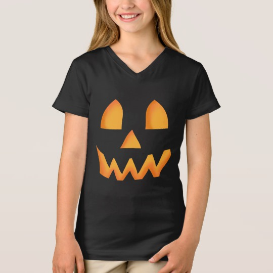 Jack O Lantern Face Girls' Fine Jersey V-Neck T-Shirt