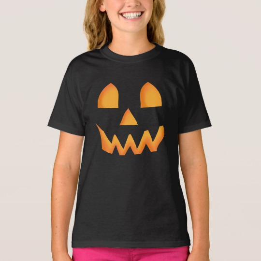 Jack O Lantern Face Girls' Hanes TAGLESS® T-Shirt