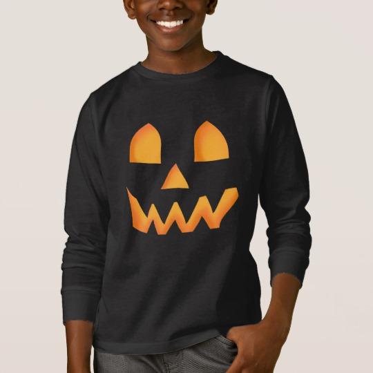Jack O Lantern Face Kids' Basic Long Sleeve T-Shirt