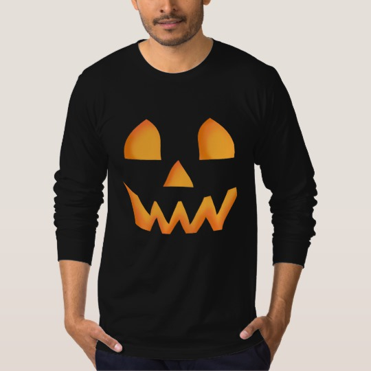 Jack O Lantern Face Men's American Apparel Fine Jersey Long Sleeve T-Shirt