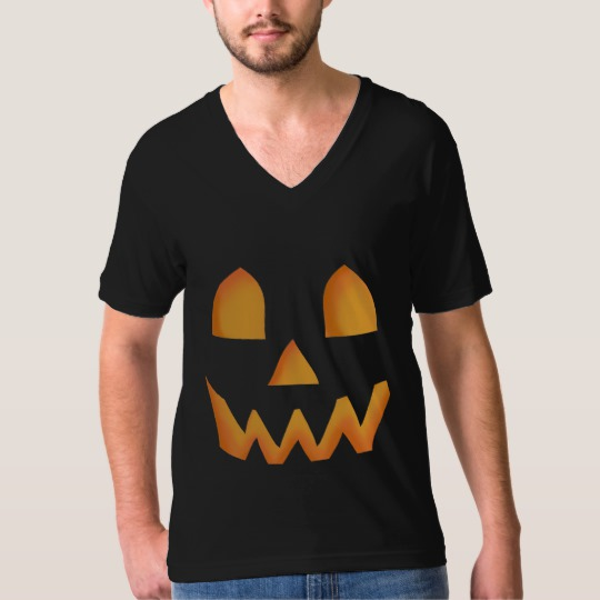 Jack O Lantern Face Men's American Apparel Fine Jersey V-neck T-Shirt