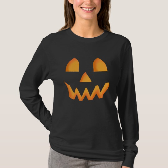 Jack O Lantern Face Men's Basic Long Sleeve T-Shirt