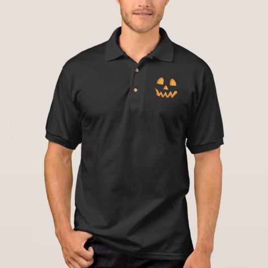 Jack O Lantern Face Men's Gildan Jersey Polo Shirt