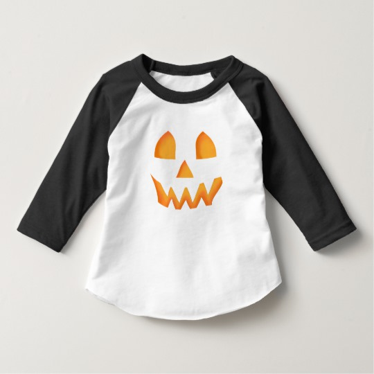Jack O Lantern Face Toddler American Apparel 3/4 Sleeve Raglan T-Shirt