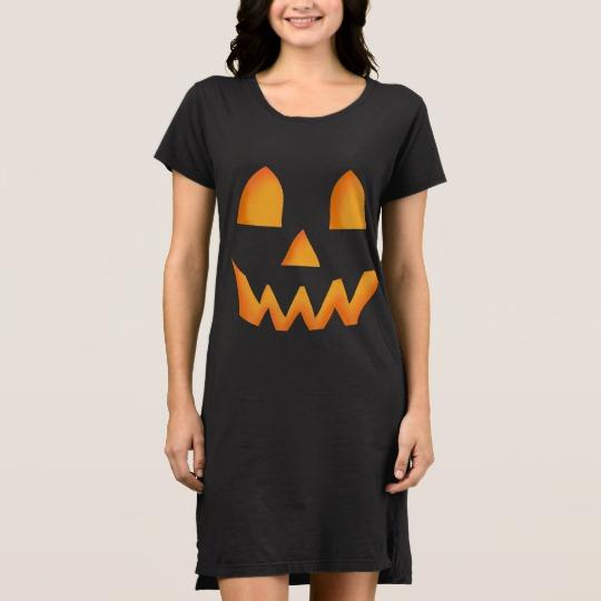 Jack O Lantern Face Women's Alternative Apparel T-Shirt Dress