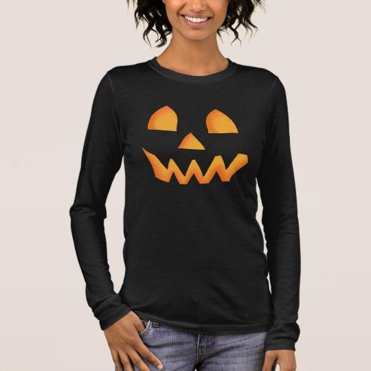 Jack O Lantern Face Women's Bella+Canvas Long Sleeve T-Shirt