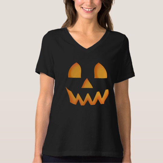 Jack O Lantern Face Women's Bella+Canvas Relaxed Fit V-Neck T-Shirt