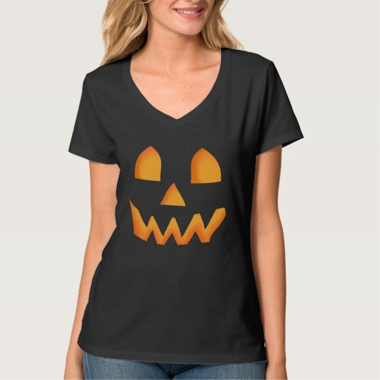 Jack O Lantern Face Women's Hanes Nano V-Neck T-Shirt