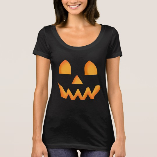 Jack O Lantern Face Women's Next Level Scoop Neck T-Shirt
