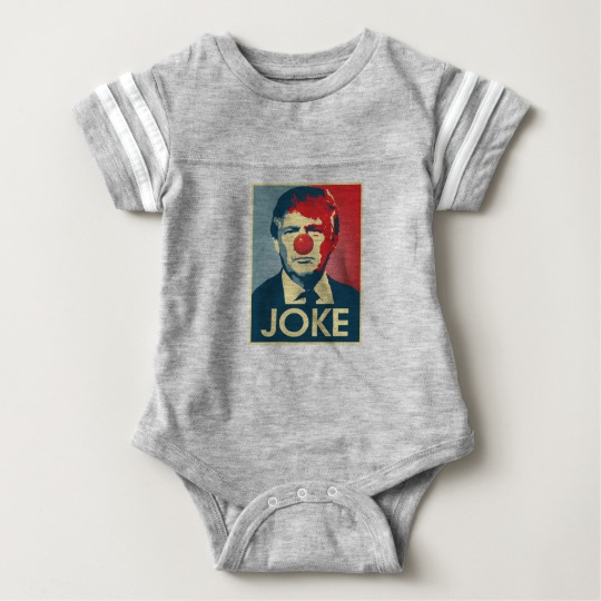Trump Clown Joke Baby Football Bodysuit