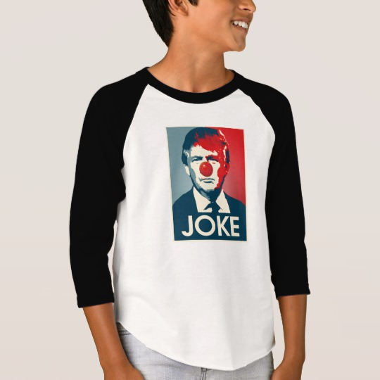 Trump Clown Joke Boys' American Apparel 3/4 Sleeve Raglan T-Shirt