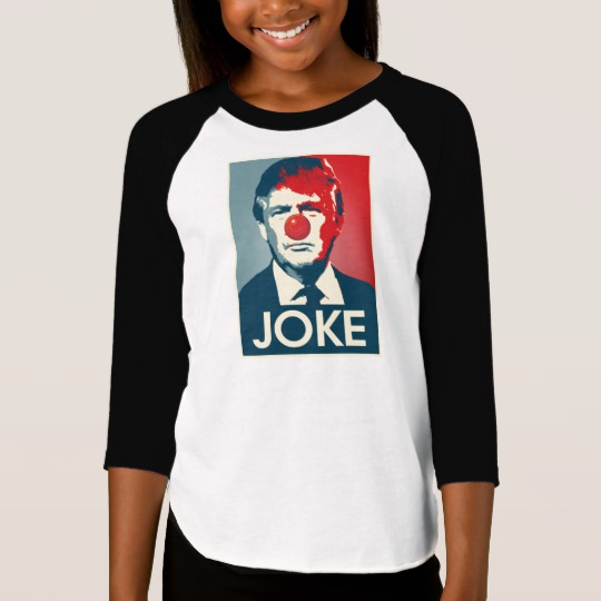 Trump Clown Joke Girls' American Apparel 3/4 Sleeve Raglan T-Shirt