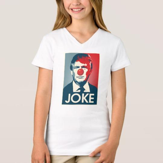 Trump Clown Joke Girls' Fine Jersey V-Neck T-Shirt