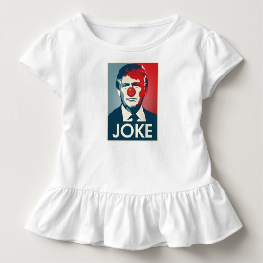 Trump Clown Joke Toddler Ruffle Tee