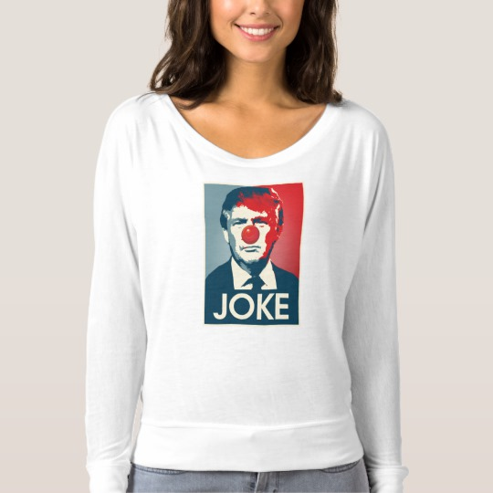 Trump Clown Joke Women's Bella+Canvas Flowy Off Shoulder Shirt
