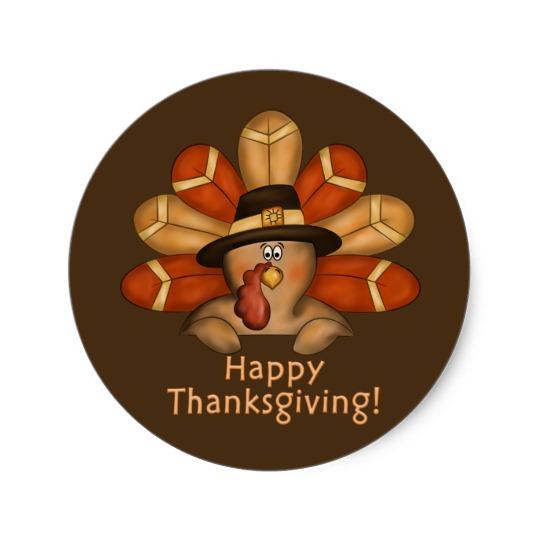 Happy Thanksgiving Cartoon Turkey Classic Round Sticker