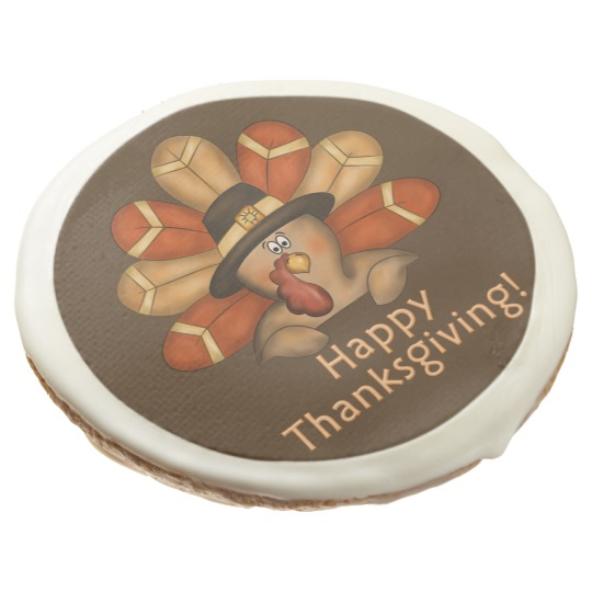 Happy Thanksgiving Cartoon Turkey Cookies - 3.5""