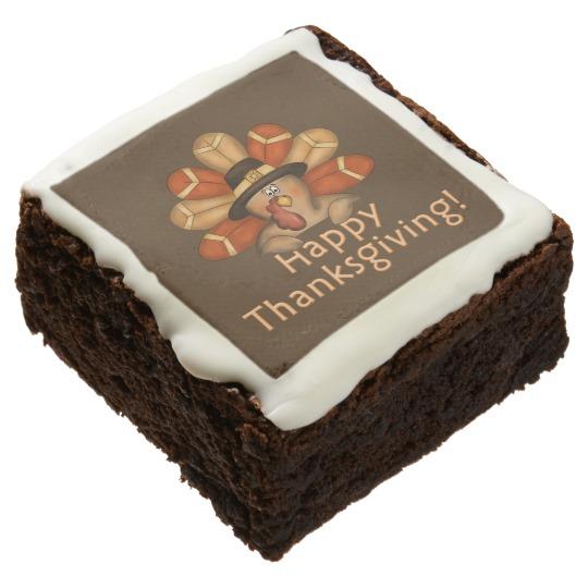 Happy Thanksgiving Cartoon Turkey Square Brownies