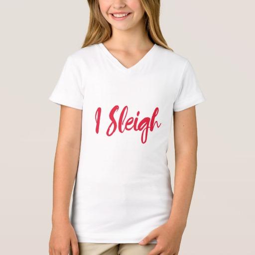I Sleigh Girls' Fine Jersey V-Neck T-Shirt