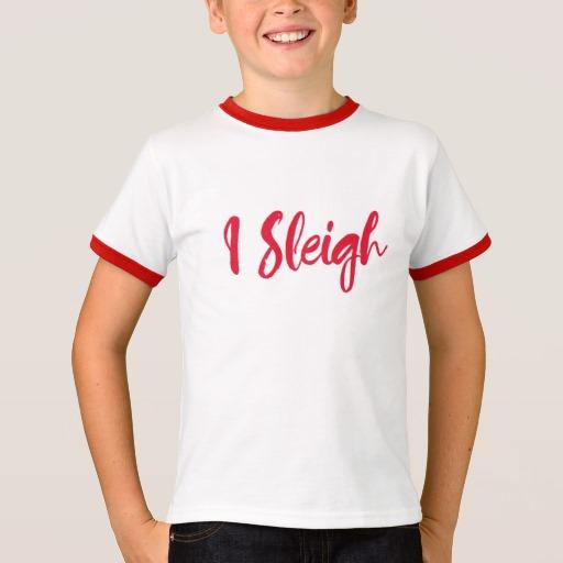 I Sleigh Kids' Basic Ringer T-Shirt