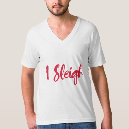 I Sleigh Men's American Apparel Fine Jersey V-neck T-Shirt