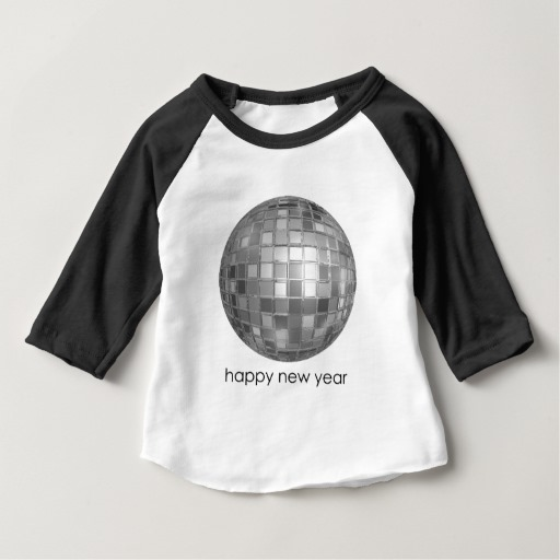 Happy New Year Disco Ball Baby American Apparel 3/4 Sleeve Raglan T-Shirt