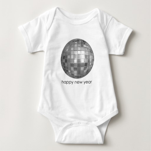Happy New Year Disco Ball Baby Jersey Bodysuit