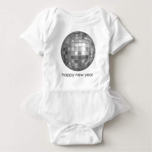 Happy New Year Disco Ball Baby Tutu Bodysuit