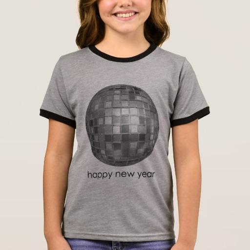 Happy New Year Disco Ball Girl's Ringer T-Shirt