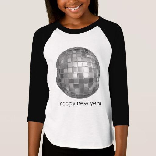 Happy New Year Disco Ball Girls' American Apparel 3/4 Sleeve Raglan T-Shirt