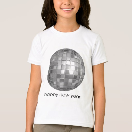 Happy New Year Disco Ball Girls' American Apparel Fine Jersey T-Shirt