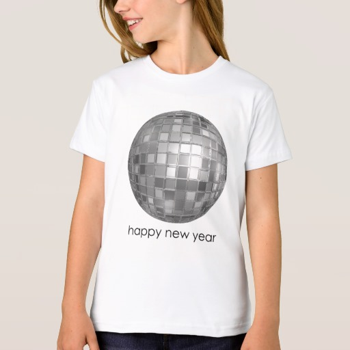 Happy New Year Disco Ball Girls' American Apparel Organic T-Shirt