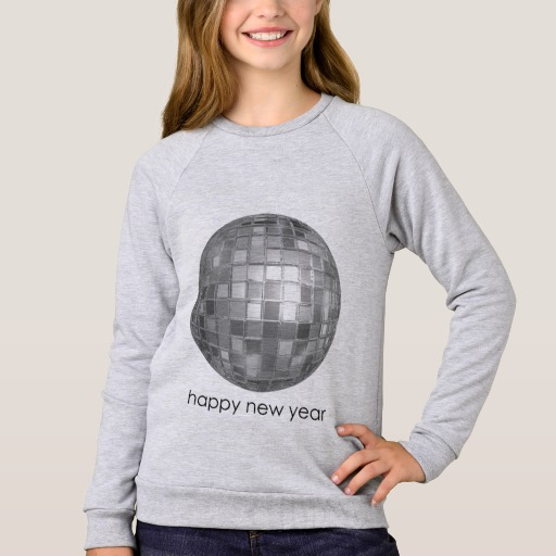 Happy New Year Disco Ball Girls' American Apparel Raglan Sweatshirt